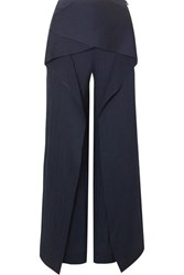 Roland Mouret Caldwell Draped Hammered Silk Satin Wide Leg Pants Navy