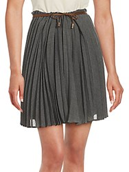 Brunello Cucinelli Wool Blend Accordion Pleated Skirt Grey