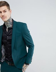 Noose And Monkey Super Skinny Wool Mix Suit Jacket In Green Green