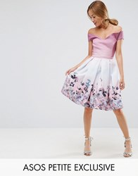 Asos Petite Salon Off Shoulder Prom Dress In Placement Floral Print Multi