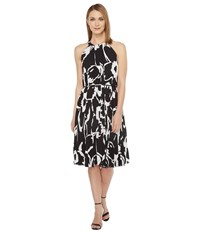 Vince Camuto Cut Out Floral Pleated Belted Halter Dress Rich Black Women's Dress