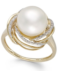Macy's Cultured Freshwater Pearl 10Mm And Diamond 1 10 Ct. T.W. Swirl Ring In 14K Gold White