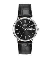 Citizen Eco Drive Stainless Steel And Leather Black Dial Watch