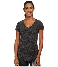 Alo Yoga Deep V Neck Shirt Black Marble Women's Short Sleeve Pullover