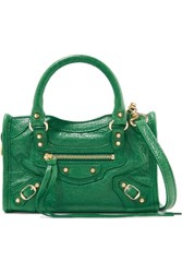 Balenciaga Classic City Nano Textured Leather Shoulder Bag Forest Green