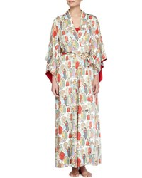 Natori Dynasty Pearl Print Long Robe Red Multicolor