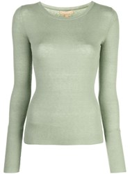 Michael Kors Round Neck Ribbed Jumper Green