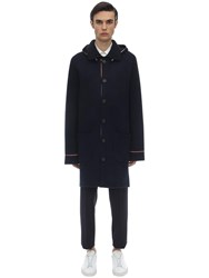 Thom Browne Hooded Wool And Cashmere Knit Duffle Coat Navy