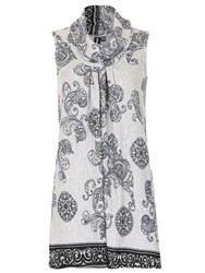 Izabel London Long Length Tunic With Checked Print Grey