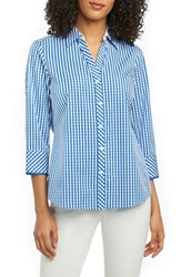 Foxcroft Petite Mary Gingham Wrinkle Free Shirt Lapis Blue