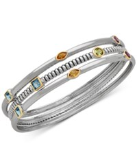 Macy's Multi Gemstone Three Row Bangle Bracelet 2 5 8 Ct. T.W. In Sterling Silver And 14K Gold Plate