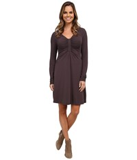 Mod O Doc Cotton Modal Spandex Jersey Long Sleeve Front Shirred Dress Shadow Women's Dress Brown