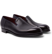 J.M. Weston Tamponato Leather Loafers Blue