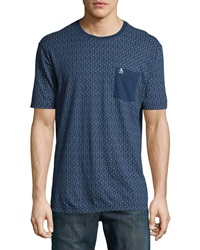 Penguin Medallion Print Cotton Contrast Pocket Jersey Tee Dress Blues