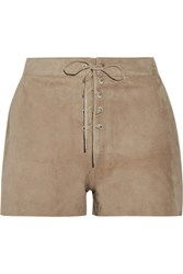 Rag And Bone Lace Up Suede Shorts Mushroom