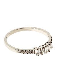 Suzanne Kalan Baguette White Diamond Ring Female Silver