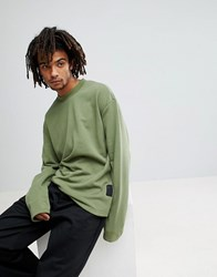 Cheap Monday Victory Sweatshirt In Khaki Bleached Olive Green