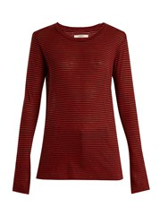 Etoile Isabel Marant Aaron Striped Linen Blend T Shirt Red Stripe