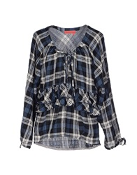 Manila Grace Denim Blouses Slate Blue