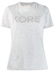 Michael Kors Collection Studded Logo T Shirt Grey