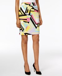 Nine West Printed Pencil Skirt Lemon Multi