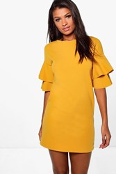 Boohoo Double Frill Sleeve Shift Dress Chartreuse