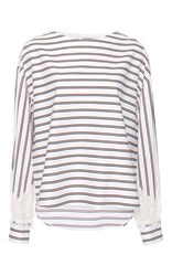 Alexis Mabille College Striped Lace Bateau Top White