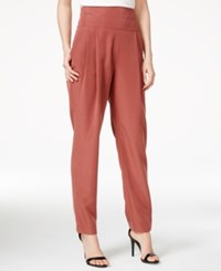 Rachel Rachel Roy Pleated High Rise Tuxedo Pants Oxblood