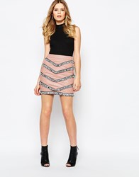 Goldie Empire Faux Leather Skirt With Tassel Trims Pink
