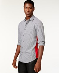 Sean John Gingham Contrast Side Shirt Pm Black