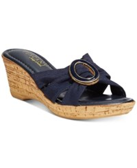 Easy Street Shoes Tuscany Conca Wedge Sandals Women's Navy