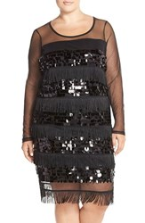 Plus Size Women's Junarose 'Charlie' Embellished Fringe Shift Dress