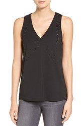 Trouve Women's Grommet Mixed Media Tank