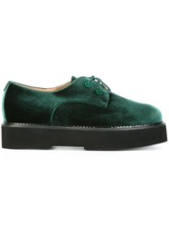 Twin Set Velvet Lace Up Shoes Green