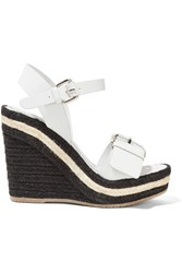 Paloma Barcelo Leather Wedge Sandals White