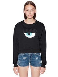 Chiara Ferragni Eye Patch Cotton Sweatshirt Black