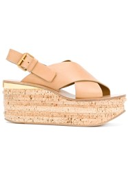 Chloe Buckled Wedge Sandals Women Calf Leather Leather 35 Nude Neutrals