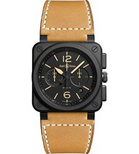 Bell And Ross Br0394herice Heritage Ceramic And Leather Watch