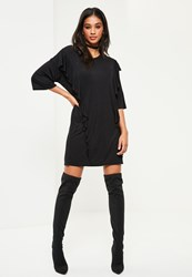 Missguided Black Frill Front T Shirt Dress