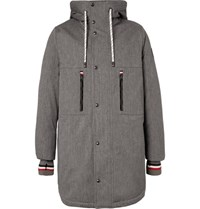 Moncler Gamme Bleu Faux Shearling Lined Cotton Blend Twill Down Coat Gray