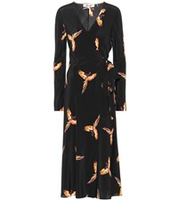 Diane Von Furstenberg Tilly Printed Silk Wrap Dress Black