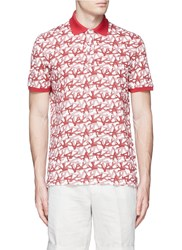 Isaia Coral Print Cotton Pique Polo Shirt Red