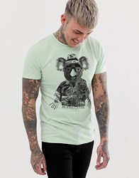 Blend Of America Slim Fit T Shirt With Koala Print In Light Green