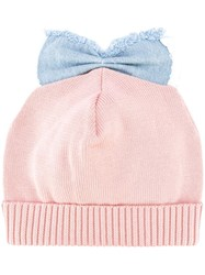 Federica Moretti 'Denim Bow Detail' Beanie Pink Purple