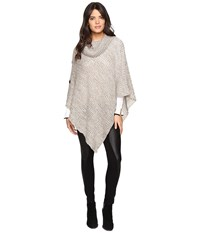 Steve Madden Waffle Knit Turtleneck Poncho With Button Tan Women's Clothing