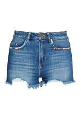 French Connection Rufaro Stitch Frayed Denim Shorts Blue
