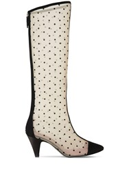 Les Petits Joueurs 70Mm Mesh And Suede High Boots Black