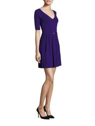 Versace Pleated Knit Dress Purple Black