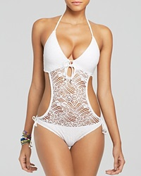 Polo Ralph Lauren Crochet Monokini One Piece Swimsuit White