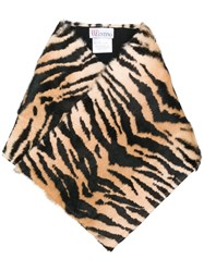 Red Valentino Tiger Striped Scarf Brown